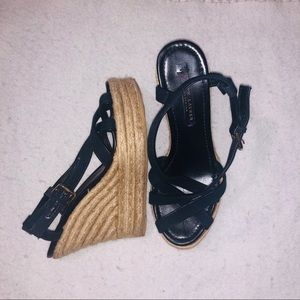 Ralph Lauren Dark Blue Strappy Wedges
